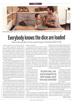 Everybody knows the dice are loaded Adam Cohen decides it's time to pay homage to his famous father's style, Page: 71 - OCTOBER 10, 2011 | Maclean's