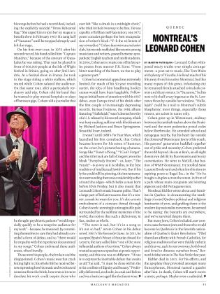 MONTREAL'S LEONARD COHEN, Page: 53 - November 28, 2016 | Maclean's